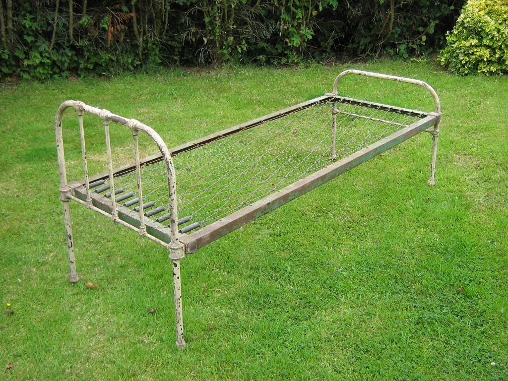 Antique Vintage Cast Iron Single Bed 1940 50s In