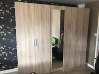 5 door oak wardrobe