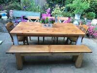 6ft Solid Wood Farmhouse Dining Table 5 Chairs And Bench