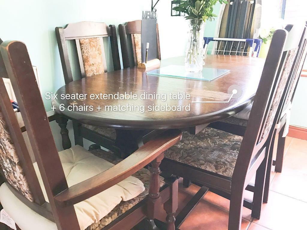 6 Seat Extendable Dinning Table And Chairs With Matching
