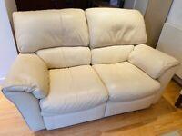LEATHER SOFA Cream Leather 2 Seater Reclining Sofa