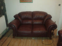 burgandy ieather 2 seater and i seater suite