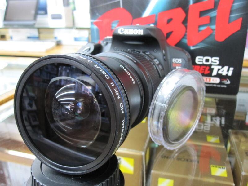 Ultra Fisheye Lens For Canon Eos Rebel T5 sl1 t3i t4 t4i t2i 700D w/18-55 nd4