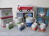 vw camper mugs X 6, egg cups X 4, money box X 1, christmas vw X 1