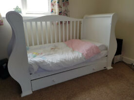 Tutti Bambini Louis Sleigh Cot Bed White