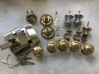 Used brass lock,small brass and steel handles and hooks