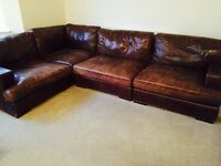 Stunning Italian rustic leather left or right, seats 6-8, Now reduced to £500