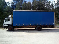 Left hand drive Mercedes Benz 1517 15 Ton curtainsider. Manual injector pump.