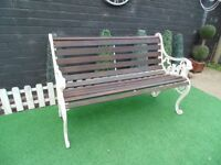 CAST IRON AND SOLID WOOD GARDEN BENCH VERY SOLID AND HEAVY BENCH