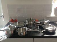Seven piece pot and pan set