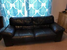Leather sofa dark brown almost black