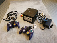 Nintendo Gamecube with Games and Controllers.