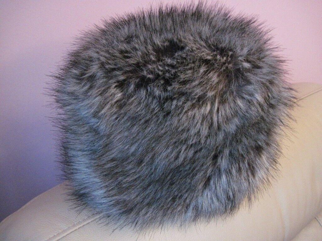 LADIES FAUX FUR RUSSIAN COSSACK HAT-GREY  b56023458cd7