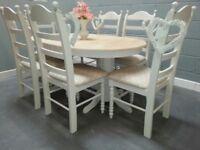 Oval Extending Bespoke Shabby Chic Dinning Set