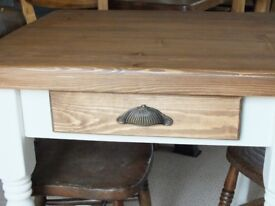 Lovely Rustic Natural Solid Pine Country Cottage Farmhouse Kitchen Dining Table With Drawer