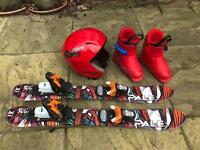 Kids skis, boots and helmet