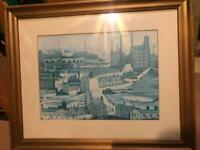Print of a Lowry painting of a factory scene in muted colours
