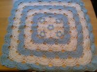 New blue and white baby shawl