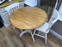 Solid pine farmhouse drop leaf dining table two chairs