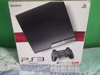 PS3 Slim 120gb boxed with all leads, official pad & 5 games