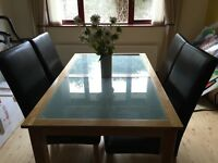 Glass Insert Table & 4 Leather Chairs