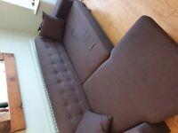 Grey 3 seater Fabric L shape sofa