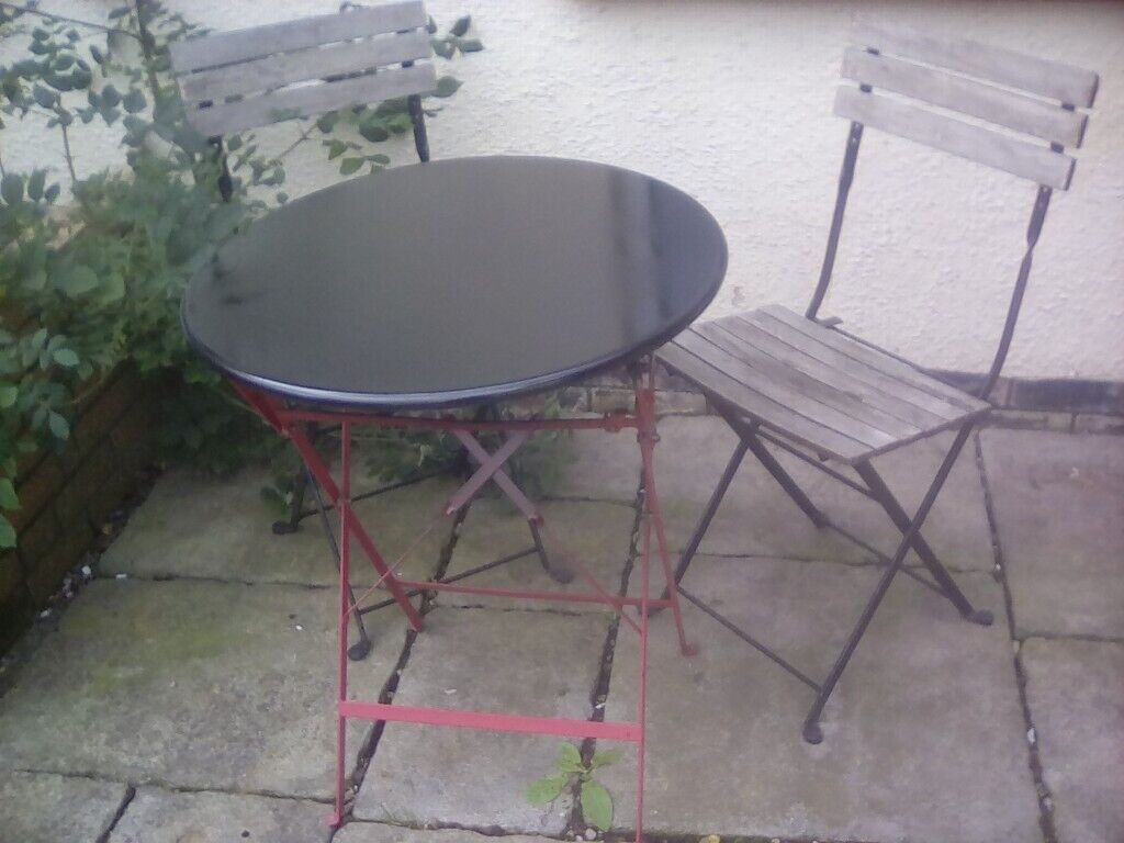 Groovy Small Metal Table And Chairs Plus Two Garden Gnomes Decorativemetal Watering Can In Ottery St Mary Devon Gumtree Customarchery Wood Chair Design Ideas Customarcherynet