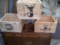 """3 x planters reclaimed wood approx 13"""" by 13"""" shabby chic"""