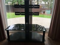 Black TV stand with bracket