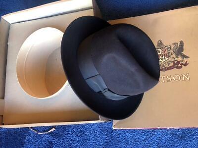 1950s Mens Hats | 50s Vintage Men's Hats Vintage 1950s Stetson Fedora Hat Brown Fur Felt Mens Size 7 in Box/Inner Package $49.99 AT vintagedancer.com