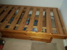 FREE Single bed with two drawers pine