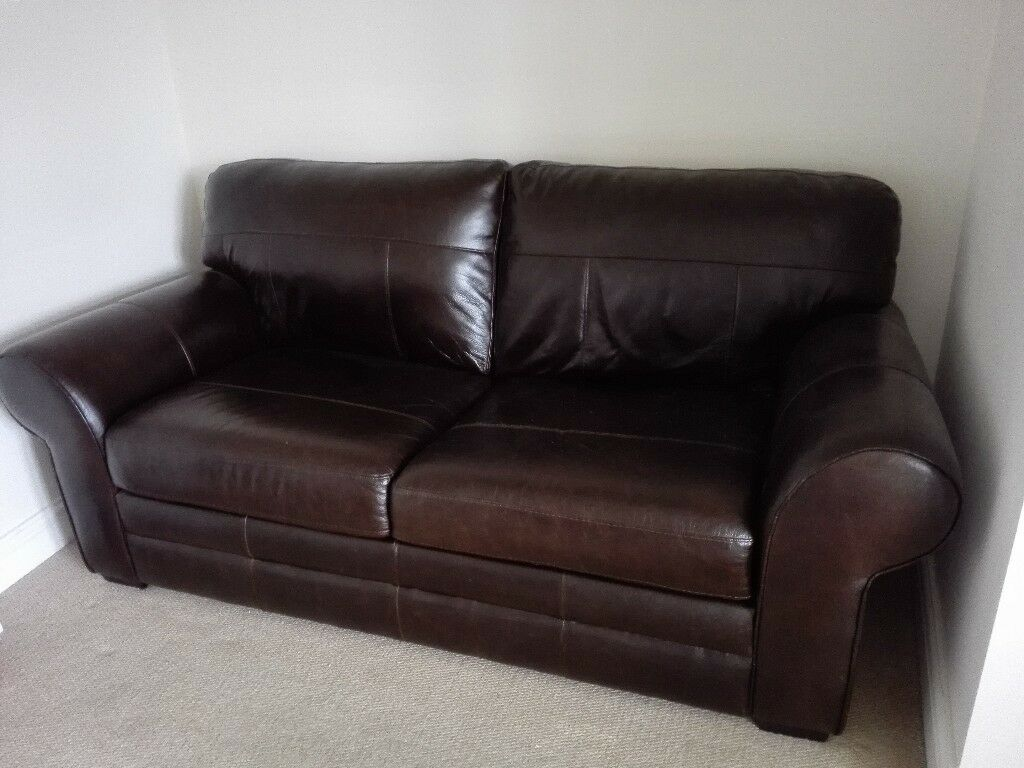 Argos Salisbury Leather Sofa Bed Dark Brown Chocolate