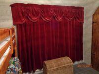 Vintage velvet curtains, pelmet and hold backs. Red/oxblood. 172 x 179 cm each