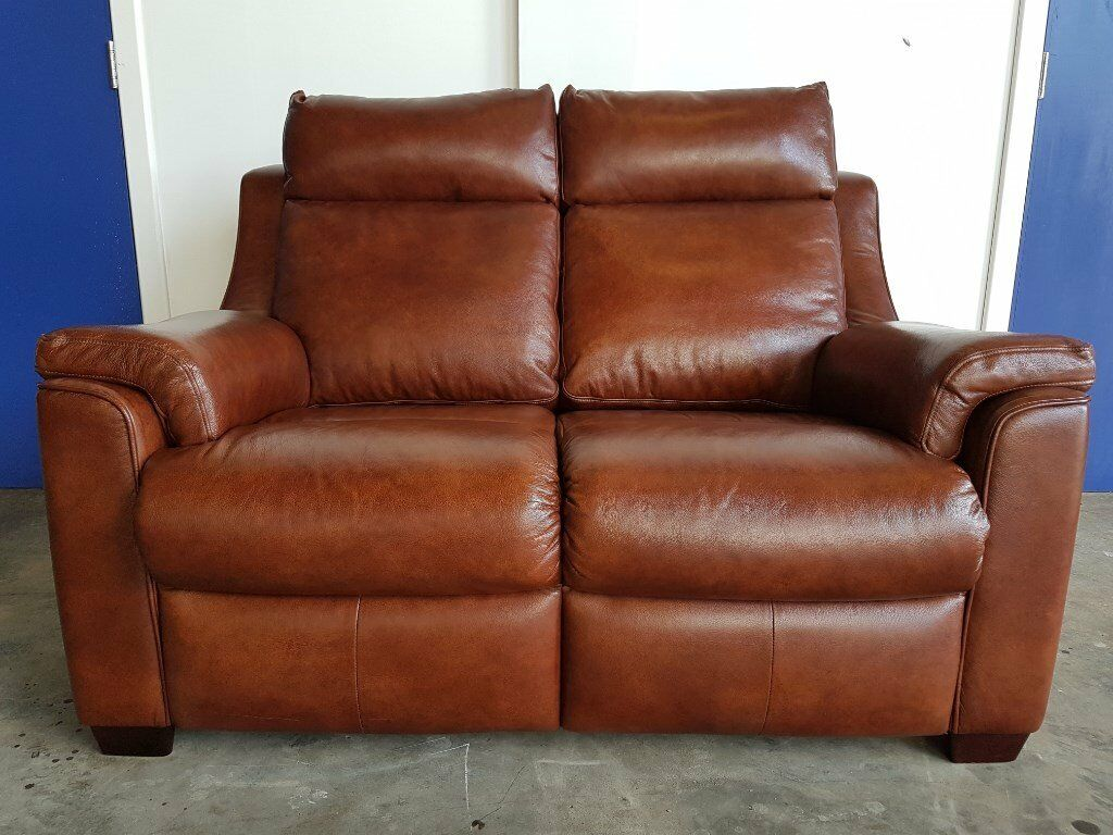 PARKER KNOLL BROWN LEATHER ALBANY 2 SEATER STATIC SOFA / SETTEE / COUCH DELIVERY AVAILABLE