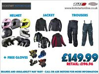 GREAT CLOTHING DEAL -MOTORCYCLE HELMET -TEXTILE JACKET AND TROUSER AND GET FREE GLOVES £149.99