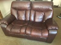 Chocolate Brown reclining 2 seat leather sofa