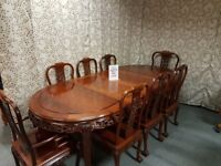Solid Oak Rosewood Table with 2 Carvers and 6 Chairs