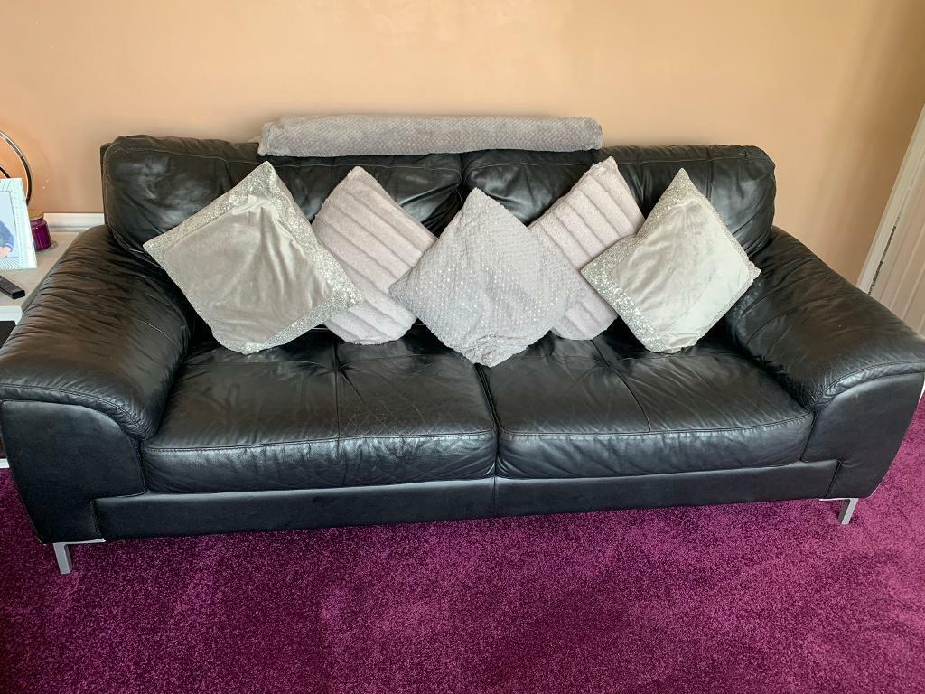 Dfs Black Leather Sofa And Chair In Hockley Essex Gumtree