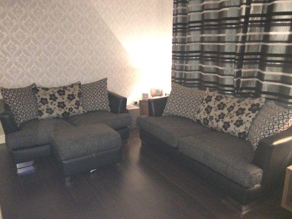 Black Leather + Fabric Sofa