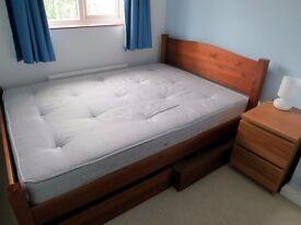 Good quality wooden bedframe (Warren Evans) and matching underbed storage