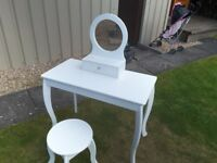 Girls white dressing table with mirror and stool