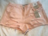 Distressed Denim Shorts 16 Pink/ Black/ Blue