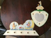 Dutch made hand painted nursery mirror and hanging peg board