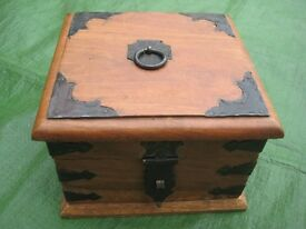 Lockable Solid Wood Jewellery Box with Iron Fittings