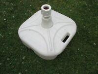 Large Garden Umbrella Parasol White Plastic Base Stand 41cm x 41 cm - £10
