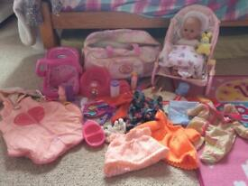 Toy baby and accessories