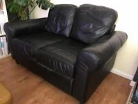 Ikea 2 seater black leather sofa
