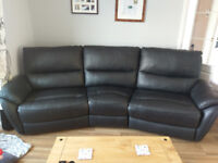 Leather crescent sofa