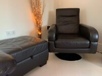 BROWN LEATHER SWIVEL CHAIR AND FOOT STOOL WITH STORAGE