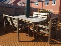 Solid wood garden table with 2 benchs and chairs